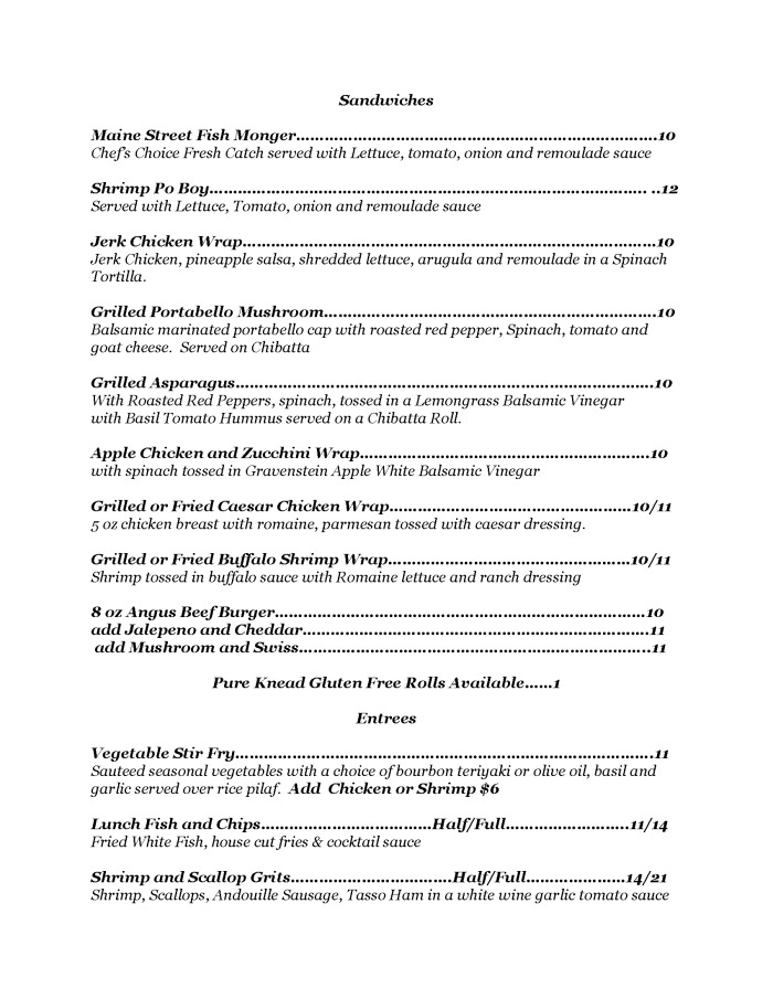 Lunch Menu Page 2 - Maine Street Coastal Cuisine